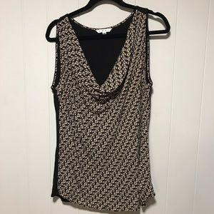CAbi sleeveless cowl neck cat print blouse